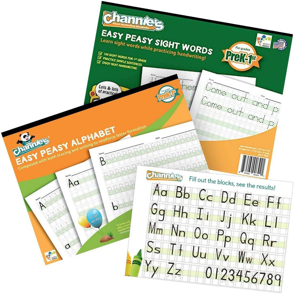 Reviews Channie's 2pk Easy Peasy Alphabet and Sight Words Workbooks - PreK-1st Grade