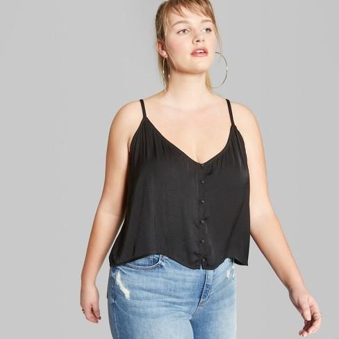 9606664da7d Women s Plus Size Button-Down Cami - Wild Fable™ Black   Target