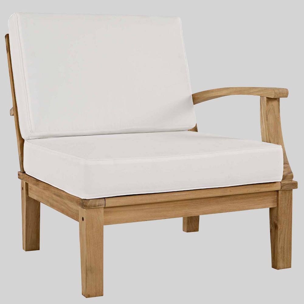 Marina Outdoor Patio Teak Right-Facing Sofa White - Modway