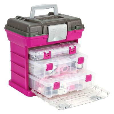 Caboodles Grab N Go Rack System Case Cosmetic Organizer Kit w/ 3 Boxes & Top Storage, For Makeup, Crafts, First Aid, & Jewelry, Magenta
