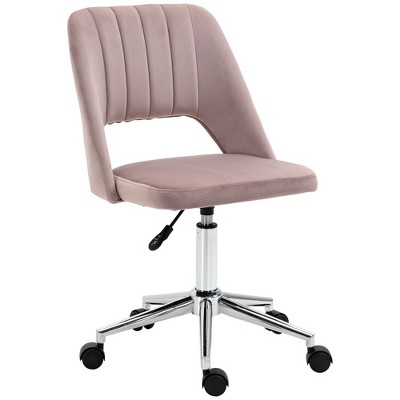 Vinsetto Modern Mid Back Office Chair with Velvet Fabric Swivel Computer Armless Desk Chair with Hollow Back Design for Home Office