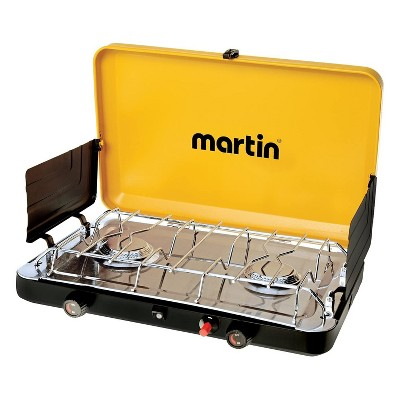 Martin MCS250 Durable Outdoor Portable Propane Gas Dual Burner Camping Cookware Grill Stove with Ignition Button, Yellow
