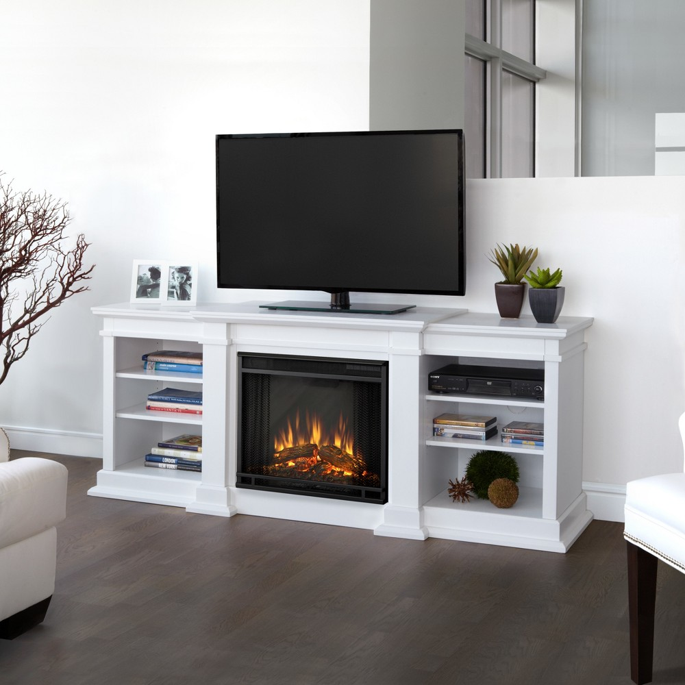Real Flame - Fresno TV/media Stand Fireplace - White