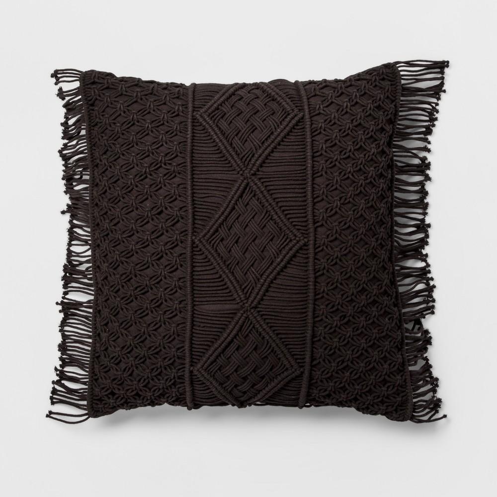 Black Macrame Oversize Throw Pillow - Opalhouse