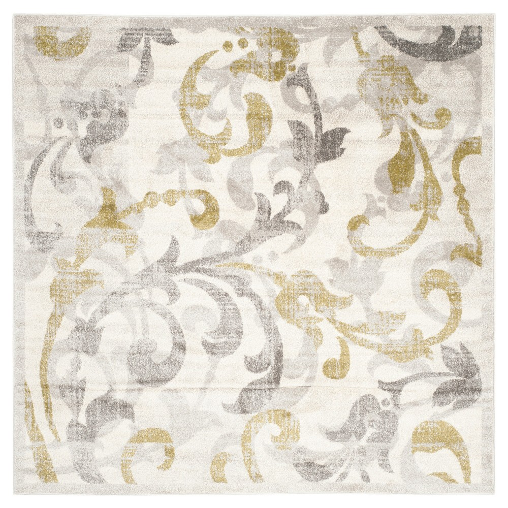 Archer Square 7'X7' Indoor/Outdoor Rug - Ivory/Light Gray - Safavieh, Ivory/Light Grey