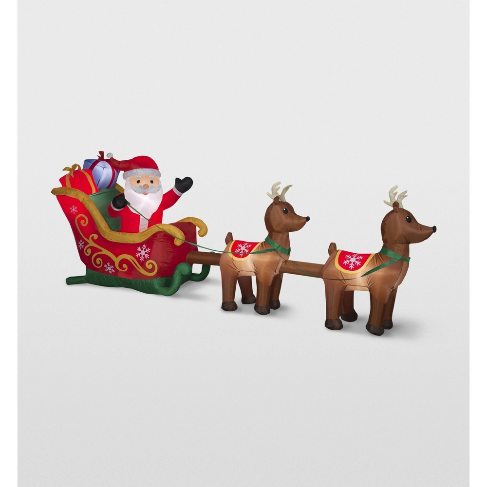 Gemmy Santa and Sleigh Reindeer Scene Inflatable Holiday Decoration