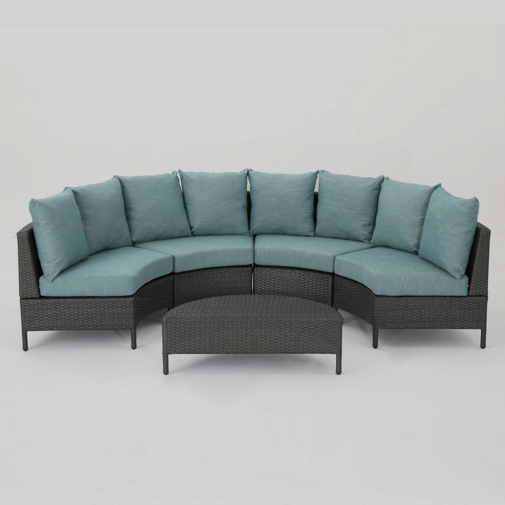 Excellent Newton 5Pc Wicker Sectional Sofa Set Grayteal Grayblue Bralicious Painted Fabric Chair Ideas Braliciousco