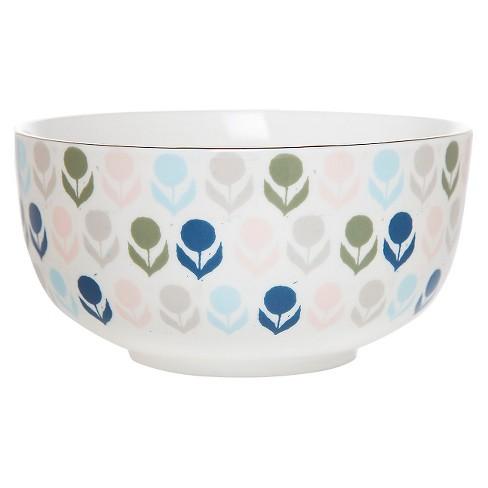 Clay Art® Flowers Porcelain Bowl 33oz - White - image 1 of 1