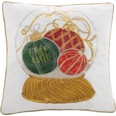 "Wynter Pillow - White/Green/Red/Yellow - 18"" X 18"" - Safavieh"