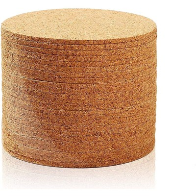 Juvale Set of 24 Absorbent Blank Cork Drink Coasters for Home and Bar, 4 x 1/8-In, Tan