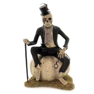 "Halloween 13.0"" Mr Bones Skeleton On Pumpkin Halloween Bones Love Monocle  -  Decorative Figurines"