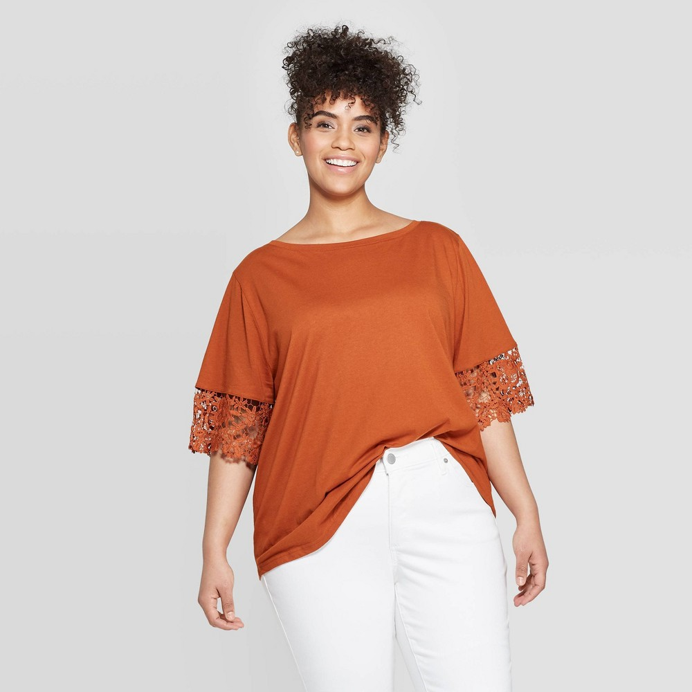 7a5adb2bde1ba2 Womens Plus Size Short Sleeve Crewneck Crochet Trim T Shirt Ava Viv Brown 2X
