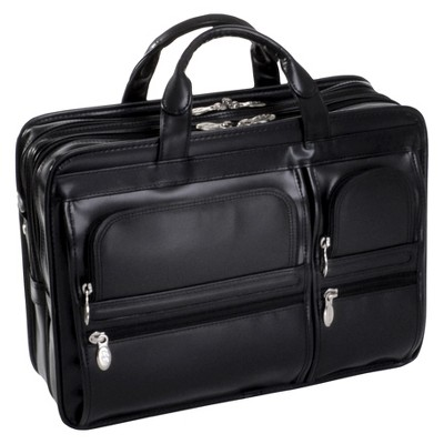 "McKlein Hubbard 15"" Leather Double Compartment Laptop Briefcase (Black)"