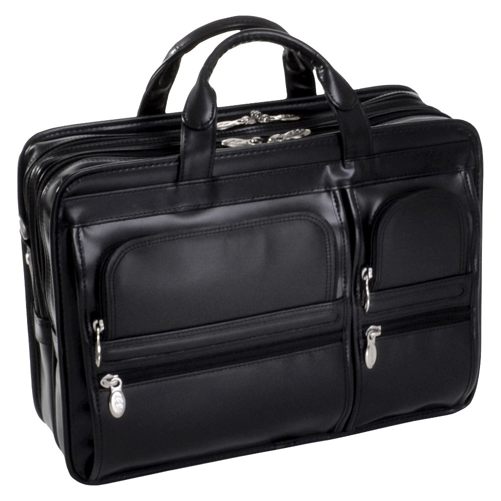 Mcklein Hubbard 15 Leather Double Compartment Laptop Briefcase Black