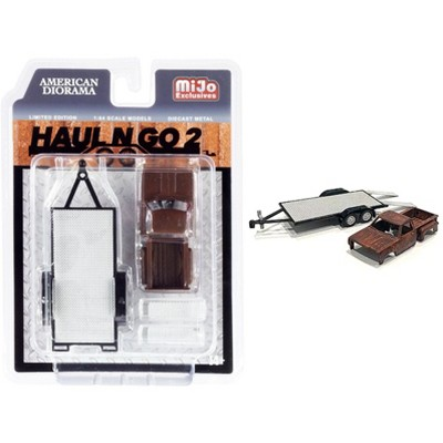 """""""Haul N Go 2"""" Trailer and Rusted Truck Body Diecast Set of 2 pieces for 1/64 Scale Models by American Diorama"""
