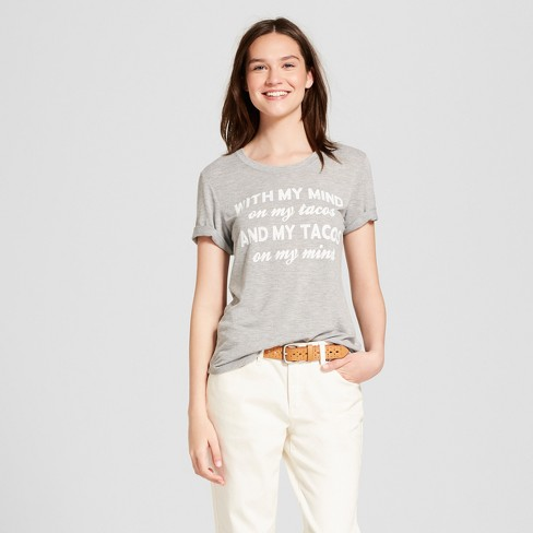 e53c3541c Women's With My Mind On My Tacos Short Sleeve Graphic T-Shirt - Zoe+Liv  (Juniors') Heather Gray