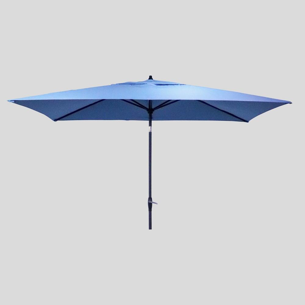 6.5' x 10' Rectangular Patio Umbrella Ocean (Blue) - Black Pole - Threshold