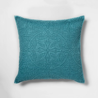 Euro Stitched Medallion Pillow Sham Teal Wave - Opalhouse™