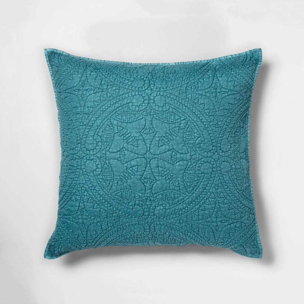 Euro Stitched Medallion Pillow Sham Teal (Blue) - Opalhouse