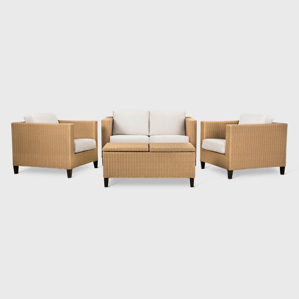 Fullerton 4pc Wicker Patio Conversation Set - Linen - Project 62