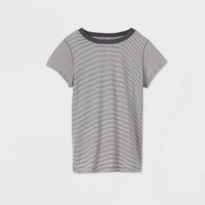 Women's Striped Short Sleeve T-Shirt - Universal Thread™ Gray/White L