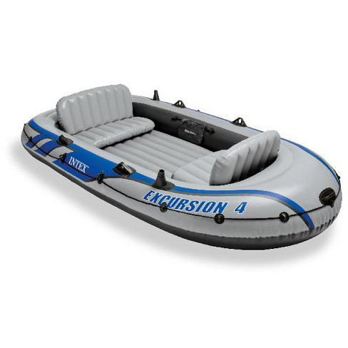 Intex Excursion 4 Inflatable Rafting Fishing 4 Person Boat Set w/ Oars and  Pump
