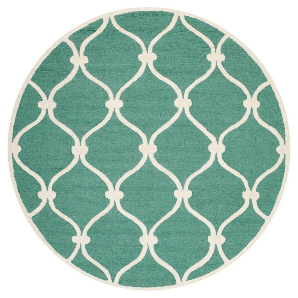 Safavieh Benson Area Rug - Teal / Ivory ( 6' Round ), Blue/Ivory