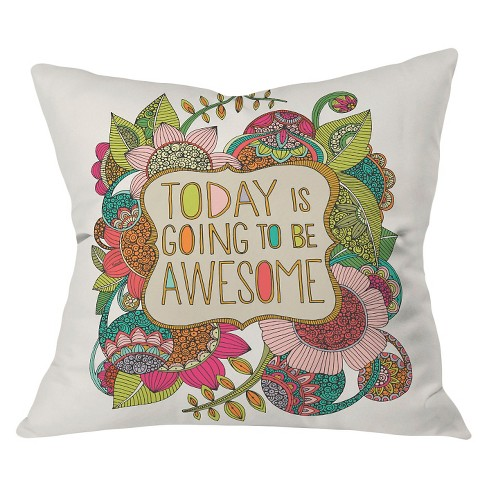 "Green Valentina Ramos Today Is Going To Be Awesome Throw Pillow (20""x20"") - Deny Designs® - image 1 of 3"