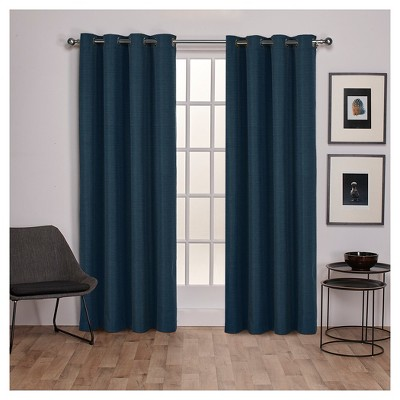 Raw Silk Insulated Thermal Grommet Top Window Curtain Panel Blue 54 x96  - Exclusive Home™