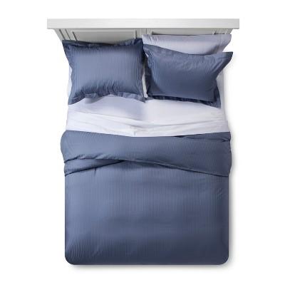 Spa Blue Damask Stripe Duvet Cover Set (King)- Fieldcrest®