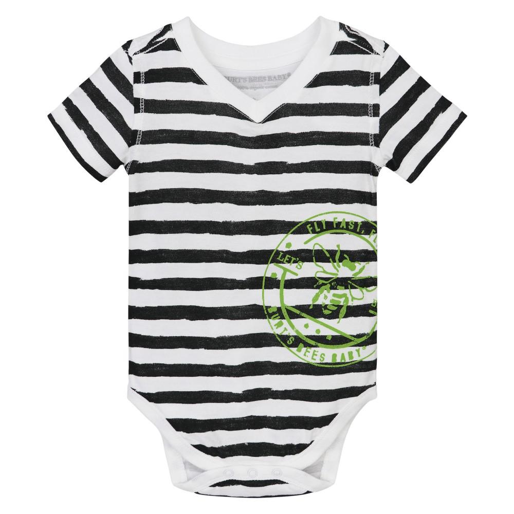 Burt S Bees Baby 174 Boys Painted Stripe High V Bodysuit Black 0 3m