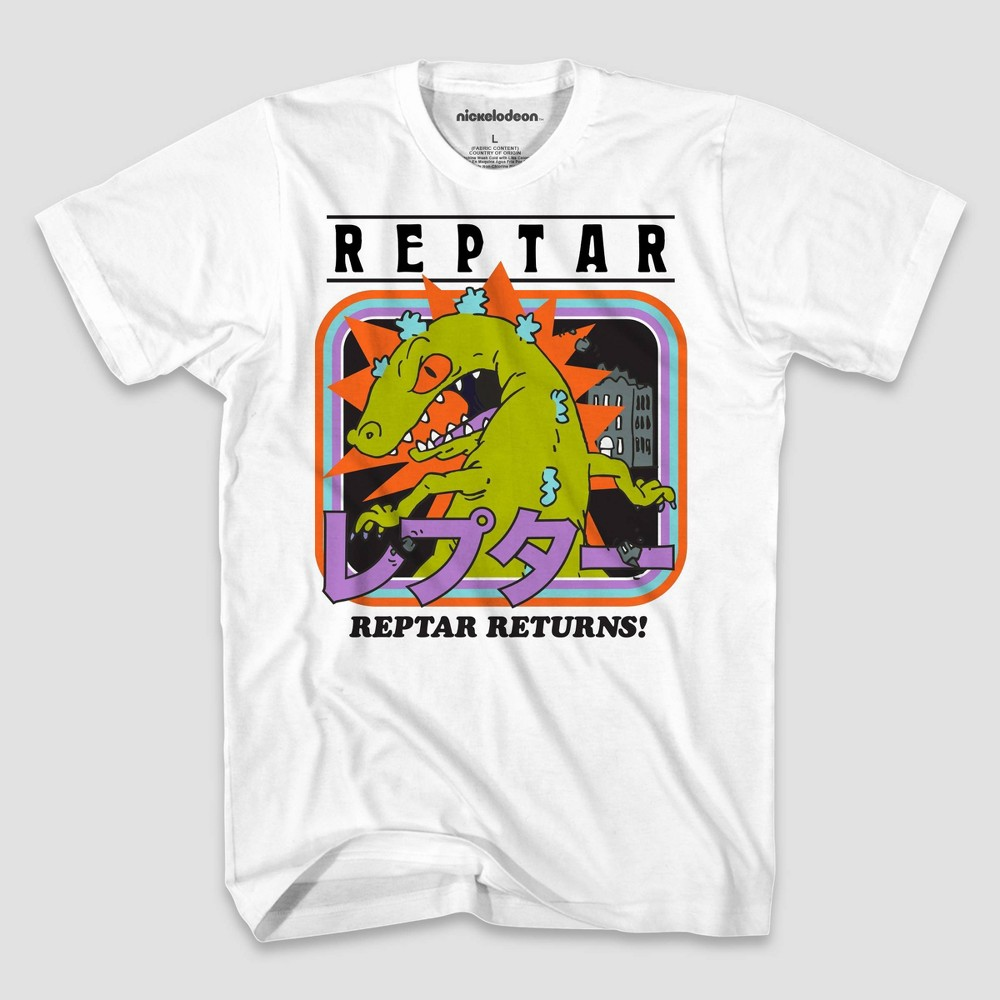 Image of Men's Nickelodeon Reptar Cover Short Sleeve Graphic T-Shirt - White S, Men's, Size: Small