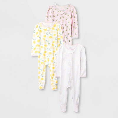 Baby Girls' 3pk Oh Honeybee Zip Sleep N' Play Pajama - Cloud Island™ 3-6M Pink/Yellow/Light Pink