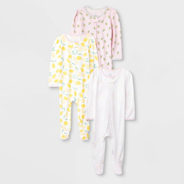 Baby Girls' 3pk Oh Honeybee Zip Sleep N' Play Pajama - Cloud Island™ Pink/Yellow/Light Pink - image 1 of 1