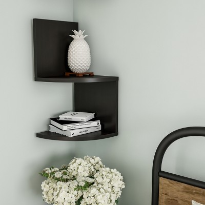 Floating Corner Shelf- 2 Tier Wall Shelves with Hidden Brackets to Display Decor, Books, Photos, More- Hardware Included by Hastings Home (Black)