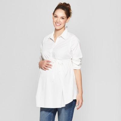 f6390eb3 Maternity Long Sleeve Peplum Hem Woven Shirt - Isabel Maternity by Ingrid &  Isabel™ White