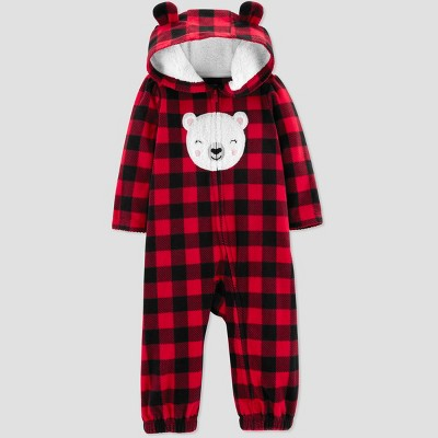 Baby Girls' Buffalo Check Bear Jumpsuit - Just One You® made by carter's Red 18M