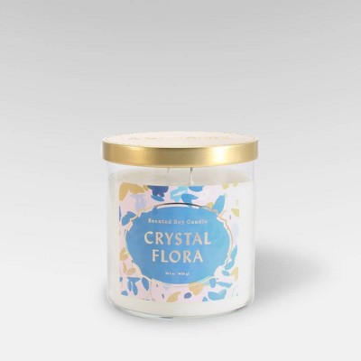 15.1oz Lidded Glass Jar 2-Wick Candle Crystal Flora - Opalhouse™