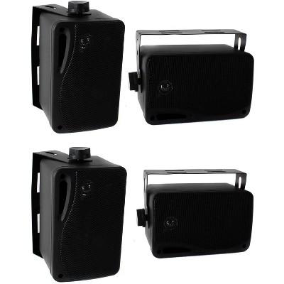 Pyle PLMR24B 3.5 Inch 3 Way Weatherproof Marine Audio Speakers, Black (2 Pair)