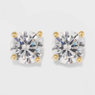 Gold Over Sterling Silver Round Cubic Zirconia Stud Fine Jewelry Earrings - A New Day™ Gold/Clear