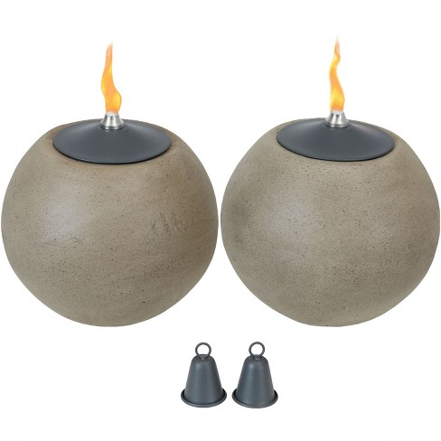 2pk Stone-Look Ball Outdoor Tabletop Torch Set - Sunnydaze Decor - image 1 of 4