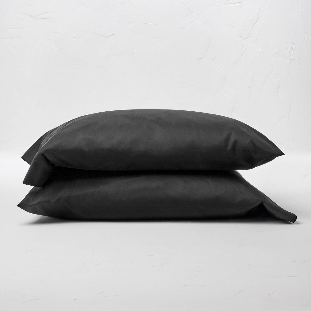 King 500 Thread Count Washed Supima Sateen Solid Pillowcase Set Washed Black Casaluna 8482