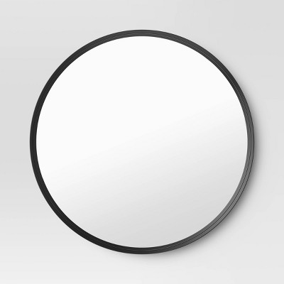 "30"" Flush Mount Round Decorative Wall Mirror Black - Project 62™"