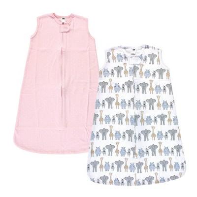Hudson Baby Unisex Baby Interlock Cotton Sleeveless Sleeping Bag - Pink Safari 6-12M