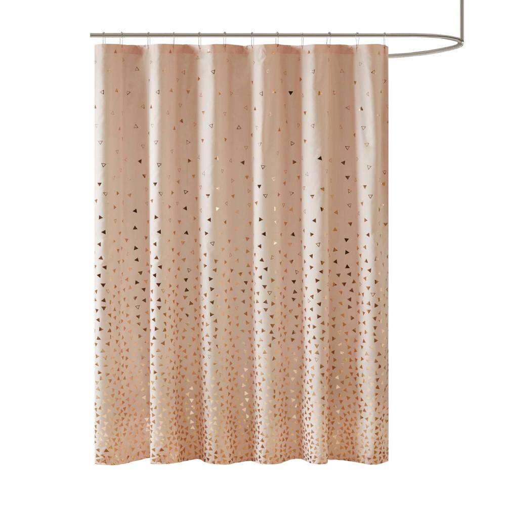 Image of Nova Printed Shower Curtain Blush/Rosegold