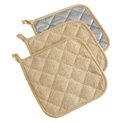 3pk LIGHT PEBBLE Potholder (7 x7 )- Design Imports