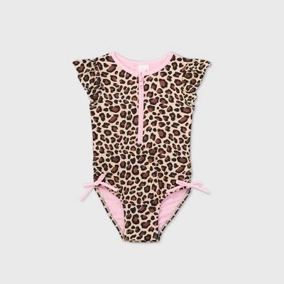 Toddler Girls' Leopard Print Zip-Front Flutter Sleeve One Piece Swimsuit - Cat & Jack™ Brown
