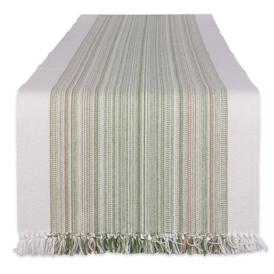 """108"""" x 14"""" Cotton Striped Fringe Table Runner Green - Design Imports"""
