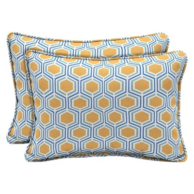 2pk Honeycomb Outdoor Lumbar Throw Pillows Yellow - Arden Selections