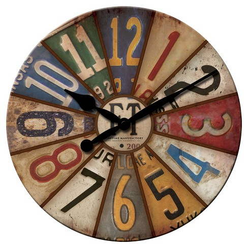 "Vintage License Plates 15.5"" Round Wall Clock - FirsTime® - image 1 of 2"